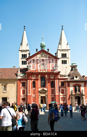 front of the St George's Basilica in Prague - Stock Photo