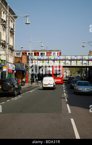 Hammersmith and City Line tube train crossing Ladbroke Grove, Notting Hill, London, UK - Stock Photo