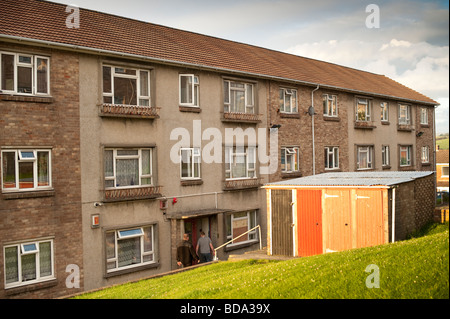 Blocks of local authority Council flats social housing Aberystwyth Wales UK - Stock Photo