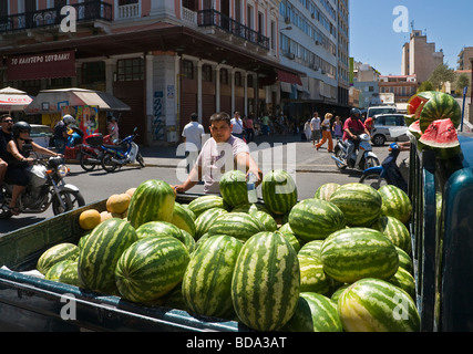 Selling watermelons outside the central fish and meat market on Athinas street in the centre of Athens Greece - Stock Photo