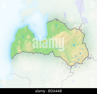 Latvia, shaded relief map. - Stock Photo