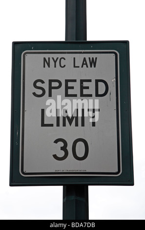 A 30 mph speed limit sign in New York, United States. - Stock Photo