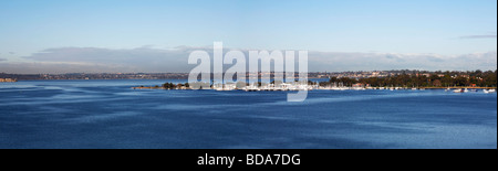 Panorama view across Matilda Bay on the Swan River Perth Western Australia - Stock Photo