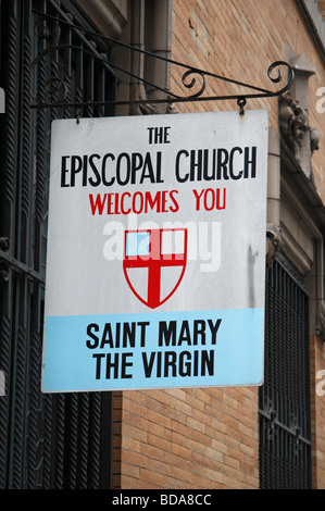 A sign above the entrance to the Saint Mary The Virgin Episcopal Church in New York, United States. - Stock Photo