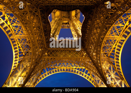 Eiffel Tower at night, Paris France - Stock Photo