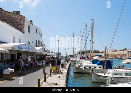 Harbourfront restaurants in the old town of Ciutadella (Ciudadela), Menorca, Balearic Islands, Spain - Stock Photo