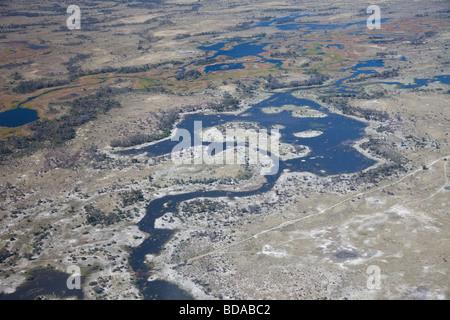 Aerial view of part of the Okavango delta in northern Botswana - Stock Photo