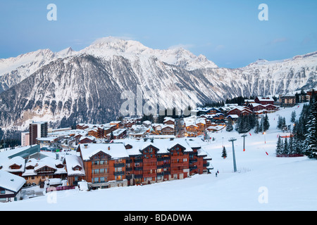 Courchevel 1850 ski resort in the Three Valleys Les Trois Vallees Savoie French Alps France - Stock Photo