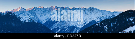 Verbier Aiguille d Argentiere Massif in the background Four Valleys region Bernese Alps Valais Switzerland - Stock Photo