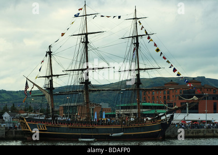 BELFAST, UK - AUGUST 13: Belfast welcomes the Tall Ship Bounty, part of the Tall Ships Atlantic Challenge 2009 - Stock Photo
