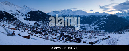 Verbier, Aiguille d Argentiere Massif in the background Four Valleys region, Bernese Alps, Valais, Switzerland - Stock Photo