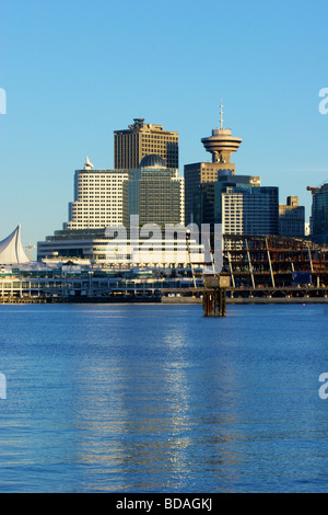 Canada Place and Harbour Center with new convention center under construction - downtown Vancouver, BC - Stock Photo