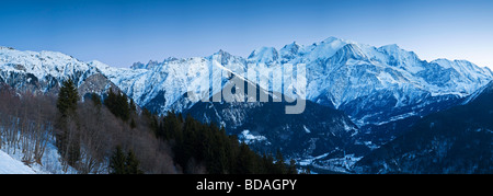 Chamonix Valley Mont Blanc and the Mont Blanc Massif range of mountains French Alps Haute Savoie France - Stock Photo