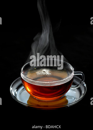 steaming cup of tea - Stock Photo