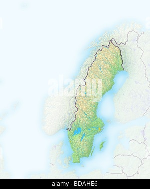Map Of Sweden Stock Photo Royalty Free Image Alamy - Sweden relief map