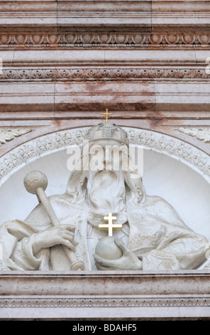 Budapest, Hungary. St Stephen's Basilica - bust of St Stephen on the facade - Stock Photo