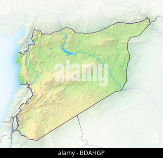 Syria, shaded relief map. - Stock Photo