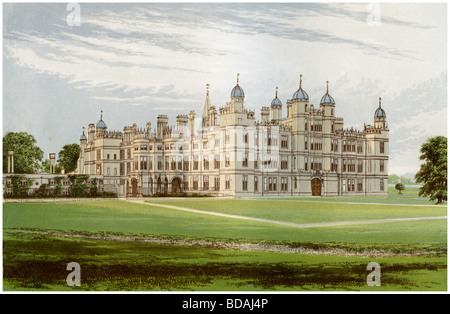 Burghley House, Lincolnshire, home of the Marquis of Exeter, c1880. Artist: Unknown - Stock Photo