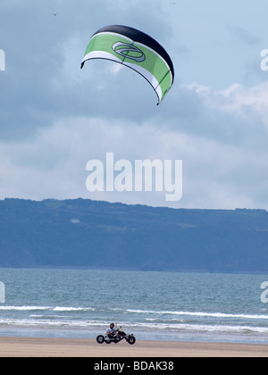 Kite Buggying Westward Ho! Devon - Stock Photo