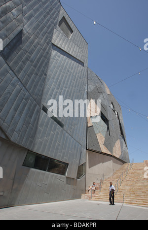 Modern building in Federation Square in Melbourne, Australia. - Stock Photo