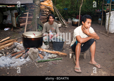 Indonesia Sulawesi Operation Wallacea Lambusango forest reserve La Pago staff boiling drinking water - Stock Photo