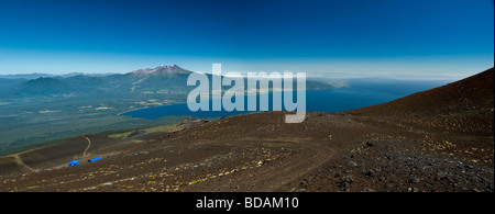 Panoramic View over the southern part of Llanquihue Lake, from Volcane Osorno - Stock Photo