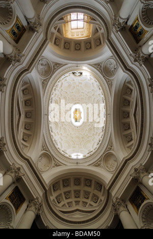 Rome Italy Ceiling of the church of San Carlo alle Quattro Fontane designed by Francesco Borromini - Stock Photo