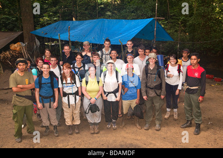 Indonesia Sulawesi Operation Wallacea Lambusango forest reserve La Pago camp 6th form college group - Stock Photo