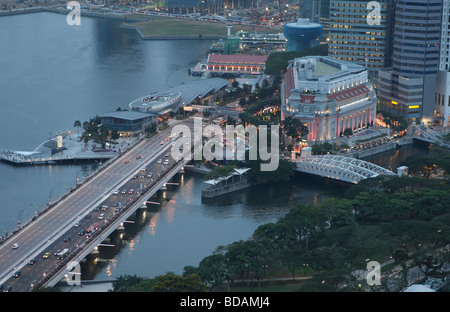 Aerial view of the Fullerton Hotel in Singapore - Stock Photo