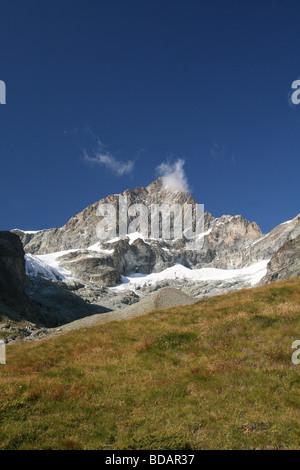 View of the Ober Gabelhorn Zermatt Valis Switzerland - Stock Photo