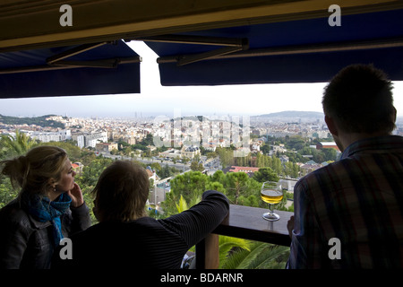 View over the city of Barcelona from Placa Doctor Andreu in Spain - Stock Photo