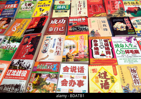 Book stall in street market Kaili Guizhou Province China - Stock Photo