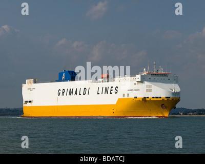 Vehicle transport ship Grande Europa leaving Southampton UK - Stock Photo