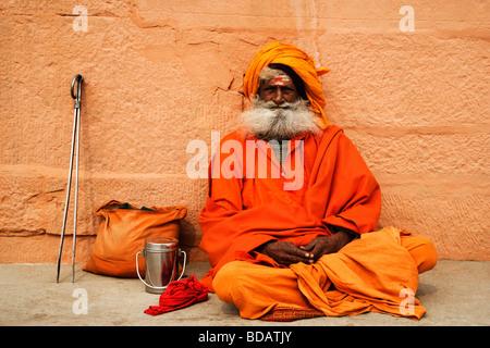 Close-up of a sadhu, Varanasi, Uttar Pradesh, India - Stock Photo