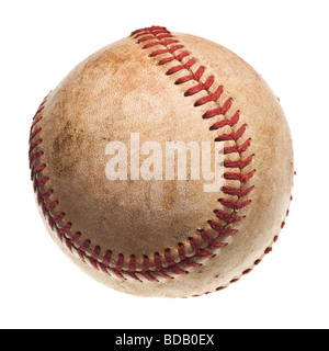 baseball with red stitching baseball isolated on white background - Stock Photo