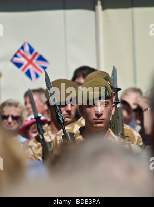 Troops of the 1st Battalion of the Yorkshire Regiment on parade during their homecoming to Beverley, East Yorkshire - Stock Photo