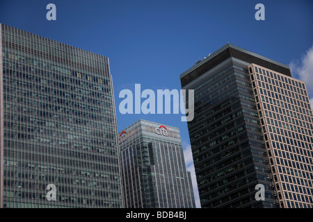 Banking office buildings in the Canada Water at Heron Quays near Canary Wharf East London s financial bank district - Stock Photo