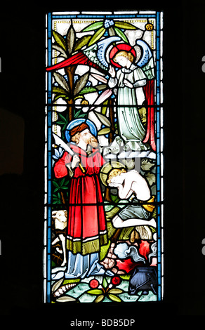 Stained Glass Window depicting Genesis 22 9 Abraham sacrificing isaac Earls Barton Church Northamptonshire - Stock Photo
