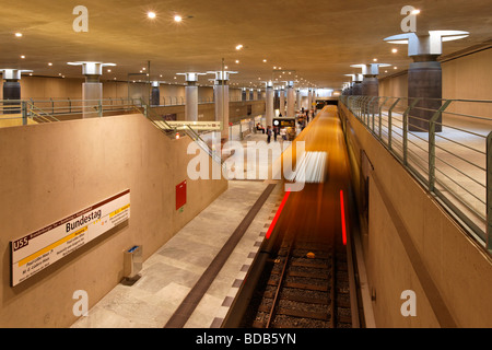 New Metro Station Bundestag of the new line U55 Berlin Germany - Stock Photo