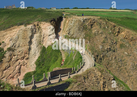 Looking down onto the narrow isthmus of La Coupée, Island of Sark, Channel Islands - Stock Photo
