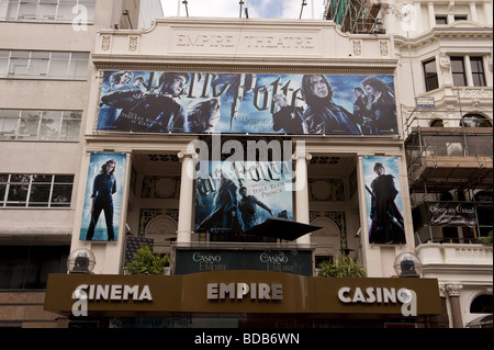 West End Empire Cinema in Leicester Square, London adorned with advertising posters for Harry Potter movie / film - Stock Photo