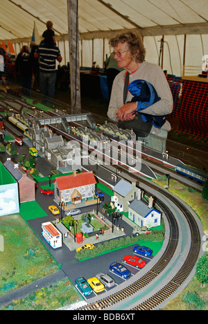 a woman looking at a model railway exhibition at a model fair in cornwall, uk - Stock Photo