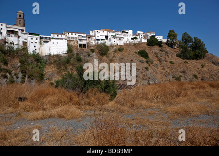View at the white village Alora. Malaga. Valle del Sol. Andalucia. Spain. Europe - Stock Photo
