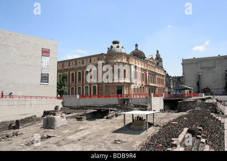 Templo mayor ( Main Temple) ruins in the downtown of Mexico City showing the mixture of civilizations - Stock Photo