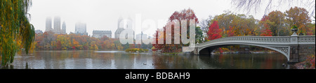 Central Park Panoramic on a misty Fall day as seen from the South side of the Lake - Stock Photo