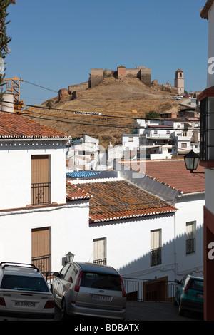 White village Alora and Castle. Malaga. Costa del Sol. Andalucia. Spain. Europe - Stock Photo