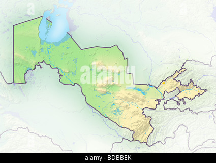 Uzbekistan, shaded relief map. - Stock Photo