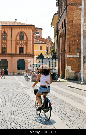 Daily life Duomo square Cremona Italy - Stock Photo