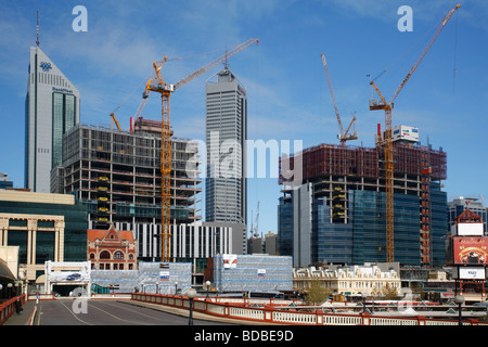Development and construction of new skyscrapers in Perth Western Australia - Stock Photo
