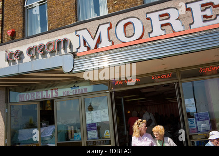 The exterior of Morelli's Ice Cream Parlour on the promenade at Broadstairs in Kent at the English Seaside - Stock Photo